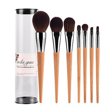 7pcs Concealerkwast Poederkwast Foundationkwast Brush Sets Blushkwast Oogschaduwkwast Lippenkwast Wenkbrauwkwast Synthetisch haar Bamboe