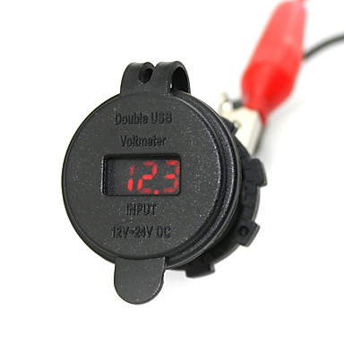 iztoss 2.1a& 2.1a водонепроницаемый двойной USB зарядное устройство телефона зарядное гнездо питания с вольтметром красным светом