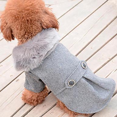 كلب المعاطف ملابس الكلاب كاجوال/يومي سادة أسود رمادي كوستيوم للحيوانات الأليفة