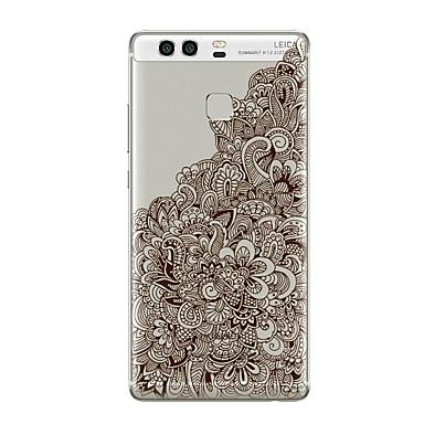 voordelige Huawei Mate hoesjes / covers-hoesje Voor Huawei P9 / Huawei P9 Lite / Huawei P8 P10 Plus / P10 Lite / P10 Transparant / Patroon Achterkant Transparant / Bloem Zacht TPU / Huawei P9 Plus / Mate 9 Pro