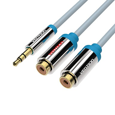 VENTION 3.5mm audio Jack Cablu Adaptor, 3.5mm audio Jack to 2RCA Cablu Adaptor Bărbați-Damă Placată cu aur 0.3M (1ft)