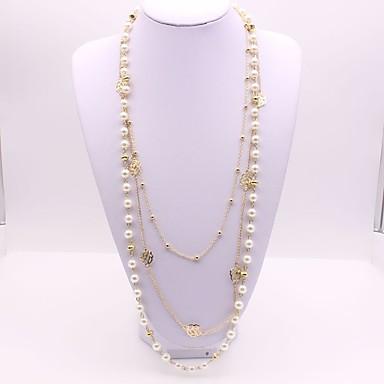 Pentru femei Diamant sintetic Imitație de Perle Coliere Layered  -  Clasic Modă Geometric Shape Auriu Coliere Pentru Petrecere Cadou