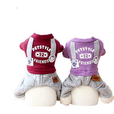 Hund Overall Hundekleidung Lässig/Alltäglich Buchstabe & Nummer Purpur Rot