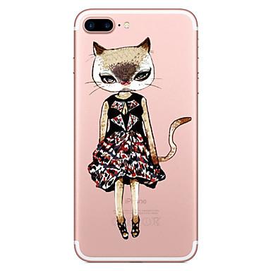 hoesje Voor Apple Transparant Patroon Achterkantje Kat Zacht TPU voor iPhone 7 Plus iPhone 7 iPhone 6s Plus iPhone 6 Plus iPhone 6s
