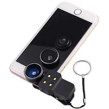 Handy-Objektiv Fischaugen-Objektiv Weitwinkelobjektiv Makro-Objektiv LED-Licht