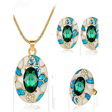 Dames Oorknopjes Hangertjes ketting Ring Synthetische Sapphire Bergkristal Verguld Legering Cirkelvorm Modieus Feest Verjaardag Lahja
