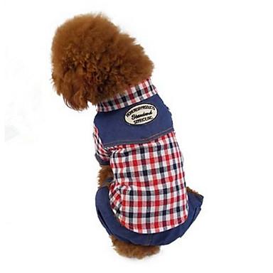 Hund Overall Hundekleidung Lässig/Alltäglich Plaid/Karomuster Kaffee Rot Gitter
