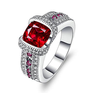 Dames Bandringen Synthetische Ruby Zirkonia Vintage Luxe Sieraden Zilver Cirkelvorm Sieraden Voor Bruiloft Verloving Ceremonie Avond Feest