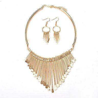 Damen Schmuck-Set - Quaste Modisch Kreisförmig Gold Silber Tropfen-Ohrringe Halskette Für Normal
