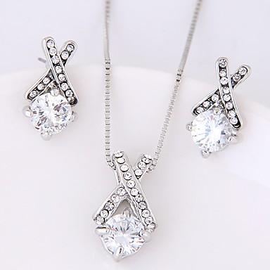 Damen Ohrstecker Halskette Kubikzirkonia Strass Modisch Aleación Geometrische Form Für Party Hochzeitsgeschenke
