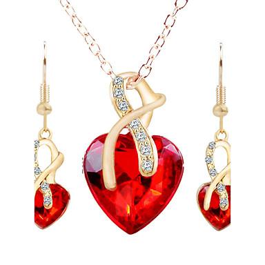 Dames Oorknopjes Ketting Bergkristal Legering Hart Modieus Feest Kostuum juwelen