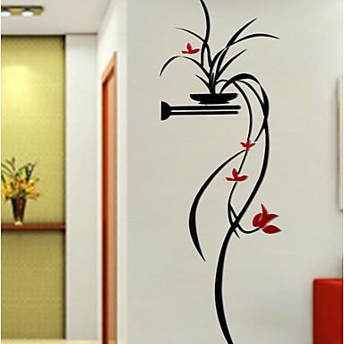الأزهار/النباتية النباتية رومانسية ملصقات الحائط لواصق لواصق حائط مزخرفة,أكريليك مادة تصميم ديكور المنزل جدار مائي