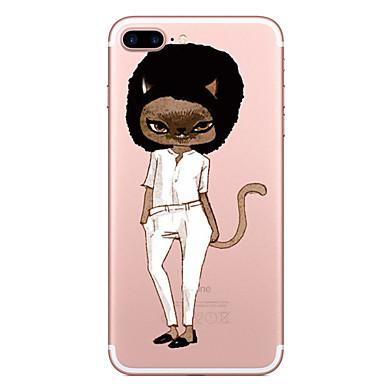 Hülle Für Apple Transparent Muster Rückseitenabdeckung Katze Weich TPU für iPhone 7 plus iPhone 7 iPhone 6s Plus iPhone 6 Plus iPhone 6s