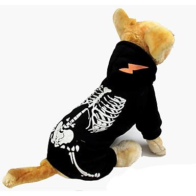 Câine Hanorace cu Glugă Îmbrăcăminte Câini Halloween Cranii Negru