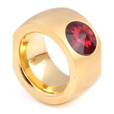 Dames Bandringen Synthetische Aquamarijn Synthetische Ruby Zirkonia Vintage Modieus Titanium Staal Cirkelvorm Sieraden Bruiloft Verloving