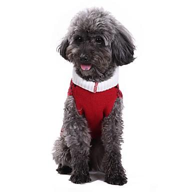 Pisici Câine Haine Pulovere Crăciun Îmbrăcăminte Câini Tartan/Carouri Rosu Spandex Amestec de Bumbac/ In Costume Pentru animale de