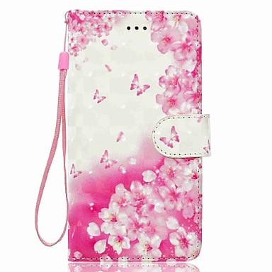 Caz pentru huawei p8 Lite p9 Lite flori model 3d pu portofel piele titularul de card cu curea de mână pentru huawei p10 p10 lite y5 ii p8