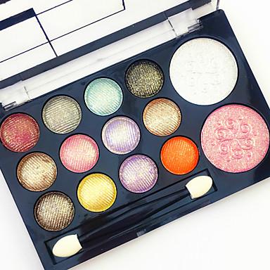 12 Glitter Shimmer Color Eyeshadow+2  Color Blush Blusher+Fard de Pleope Oglindă Pensule de Machiaj Uscat Mat Sclipici Bărbați Bărbați și