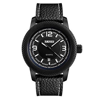 SKMEI Bărbați Quartz Ceas de Mână Japoneză Calendar Rezistent la Apă Cool Piele Bandă Casual Ceas Elegant Modă Negru