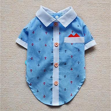 Hund T-shirt Hundekleidung Lässig/Alltäglich Britisch Dunkelblau Blau