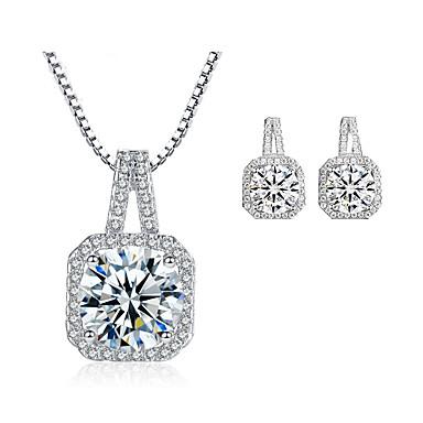 Pentru femei Zirconiu Cubic Set bijuterii - Zirconiu Cubic Lux, Modă Include Cercei Stud / Lănțișor Argintiu Pentru Nuntă