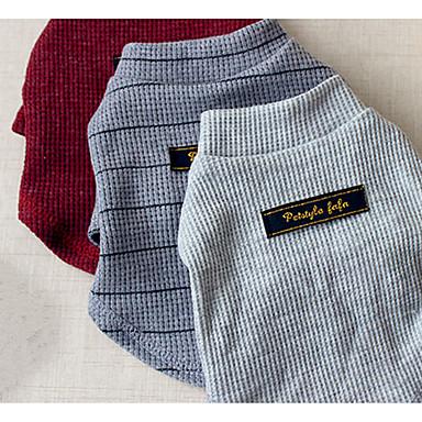 Hond Sweatshirt Hondenkleding Chinlon Lente/Herfst Winter Casual/Dagelijks Effen Grijs Rood Streep Voor huisdieren