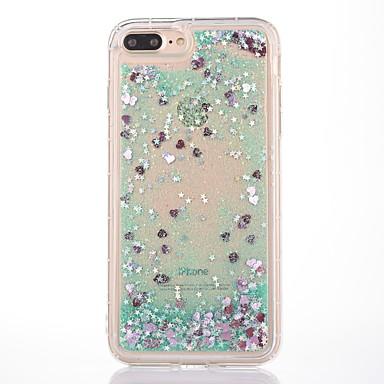 Кейс для Назначение Apple iPhone 7 Plus iPhone 7 Защита от удара Движущаяся жидкость Прозрачный С узором Кейс на заднюю панель С сердцем
