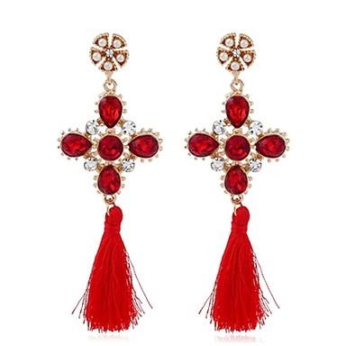 Dames Druppel oorbellen Synthetische Ruby Modieus Vintage Legering Bloemvorm Sieraden Voor Feest Avond Feest