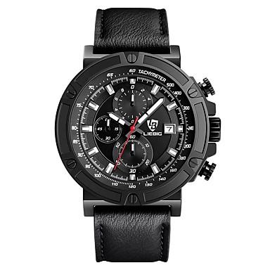 LIEBIG Bărbați Ceas Militar  Ceas de Mână Quartz Calendar Cronometru Piele Bandă Negru