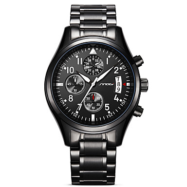 Χαμηλού Κόστους Ανδρικά ρολόγια-SINOBI Ανδρικά Αθλητικό Ρολόι Στρατιωτικό Ρολόι Ρολόι Καρπού Ιαπωνικά Χαλαζίας Μέταλλο Ανοξείδωτο Ατσάλι Μαύρο 30 m Ανθεκτικό στο Νερό Ημερολόγιο Δημιουργικό Αναλογικό / Δύο χρόνια / Χρονόμετρο