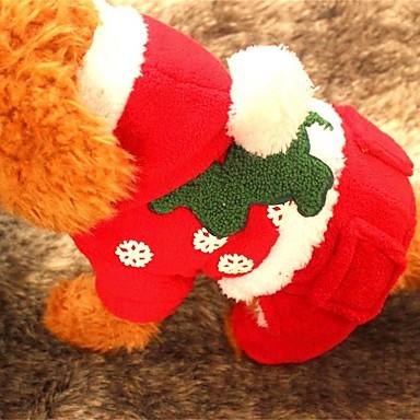 Câine Hanorace cu Glugă Îmbrăcăminte Câini Crăciun Solid Rosu