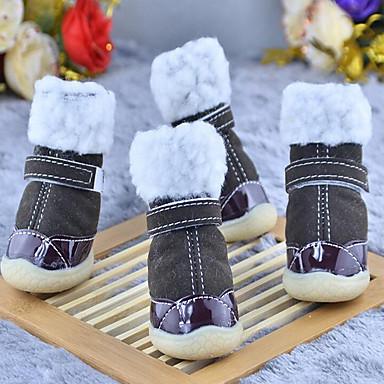 Hund Schuhe und Stiefel Lässig/Alltäglich Wasserdicht warm halten Solide Kaffee Braun Rot Blau Rosa