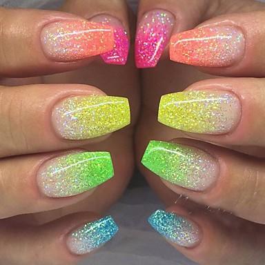 12bottles / set de moda unghii de arta fluorescente sclipici praf diy decorare unghii frumusete frumusete stralucire neon praf luciu 3d