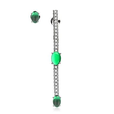 Pentru femei Cercei Stud Nepotrivirea Plastic Zirconiu Bijuterii Alb Verde Cadou Casual Oficial Muncă Anul Nou Costum de bijuterii