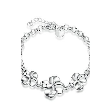 Pentru femei Fete Cristal Argilă Floral Floare Brățări cu Lanț & Legături - Floral Prietenie Modă Argintiu Brățări Pentru Nuntă Petrecere