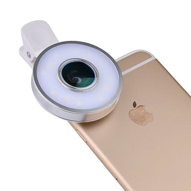 Handy-Objektiv Fischaugen-Objektiv Weitwinkelobjektiv Makro-Objektiv Aluminium Legierung Objektiv mit LED-Licht