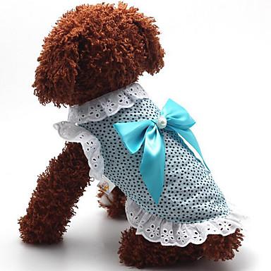 كلب الفساتين ملابس الكلاب كاجوال/يومي منقط أزرق زهري كوستيوم للحيوانات الأليفة