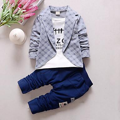 ieftine Haine de Băieți-Copil Băieți Verificare Plisat Peteci Manșon Lung Regular Bumbac Set Îmbrăcăminte Gri