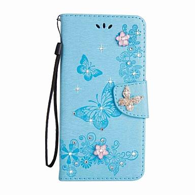 Недорогие Чехлы и кейсы для Galaxy S4 Mini-Кейс для Назначение SSamsung Galaxy S8 Plus / S8 / S7 edge Кошелек / Бумажник для карт / Стразы Чехол Бабочка Твердый Кожа PU