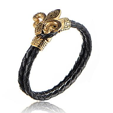 Herr Pojkar Armringar Manschett Armband Läder Armband - Rostfritt stål b08be27a4f7b3
