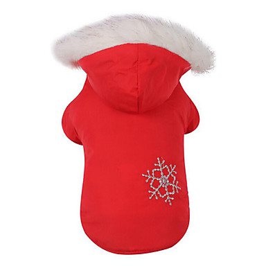 Hund Mäntel Hundekleidung Schneeflocke Kaffee Rot Baumwolle Daune Kostüm Für Haustiere Herrn Damen Lässig/Alltäglich