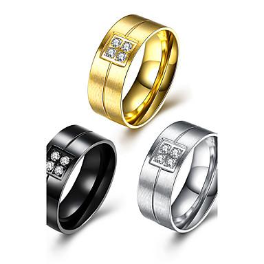 Bărbați Ștras Teak Inel - Circle Shape Design Circular Auriu / Negru / Argintiu Inel Pentru Petrecere / Birou / Carieră / Zilnic