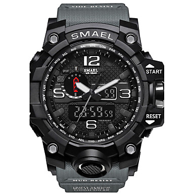 Χαμηλού Κόστους Ανδρικά ρολόγια-SMAEL Ανδρικά Αθλητικό Ρολόι Στρατιωτικό Ρολόι Ψηφιακό ρολόι Ιαπωνικά σιλικόνη Μαύρο / Κόκκινο / Πορτοκαλί 50 m Ανθεκτικό στο Νερό Ημερολόγιο Χρονογράφος Αναλογικό-Ψηφιακό Καθημερινό Μοντέρνα -