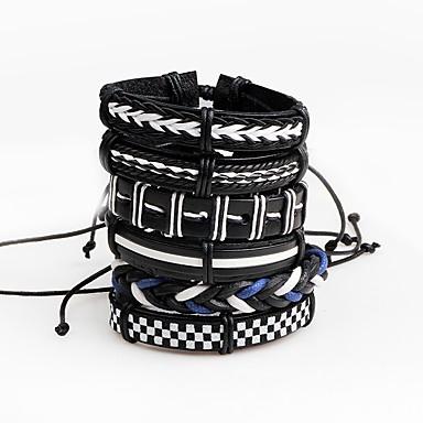 Bărbați Piele Bratari din piele Bratari Wrap - Personalizat Multi-moduri Wear Line Shape neregulat Negru Brățări Pentru Scenă Club