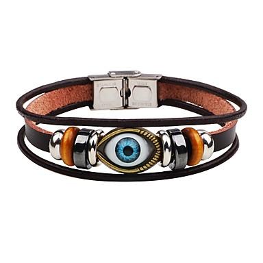 voordelige Heren Armband-Heren Lederen armbanden Kwaad oog Punk Roestvast staal Armband sieraden Bruin Voor Toneel Straat