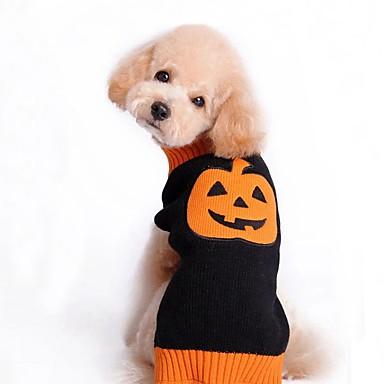 Pisici Câine Haine Pulovere Îmbrăcăminte Câini Petrecere Casul/Zilnic Cosplay Keep Warm Nuntă Halloween Crăciun Anul Nou Dovleac Negru