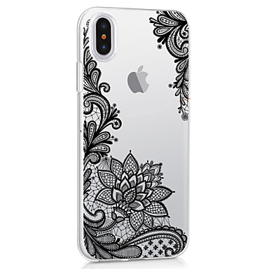 Case For Apple iPhone X iPhone X iPhone 8 iPhone 8 Plus Ultra-thin Transparent Pattern Back Cover Flower Lace Printing Soft TPU for