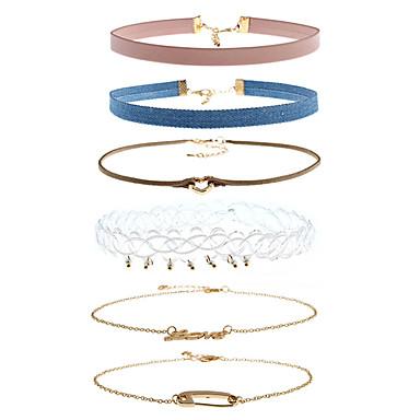 Pentru femei Formă Multi-moduri Wear stil minimalist Coliere Choker Ștras Aliaj Coliere Choker Casual Dată