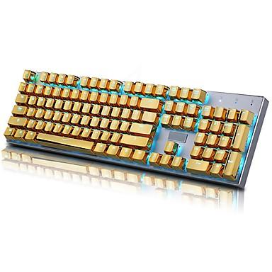 abordables Accesorios-e-elemento de 104 pbt doble inyección de inyección de iluminación dorada metal color keycaps para todos los teclados mecánicos con llave