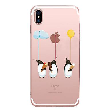 voordelige iPhone 6 Plus hoesjes-hoesje Voor Apple iPhone X / iPhone 8 Plus / iPhone 8 Transparant / Patroon Achterkant Spelen met Apple-logo / dier Zacht TPU